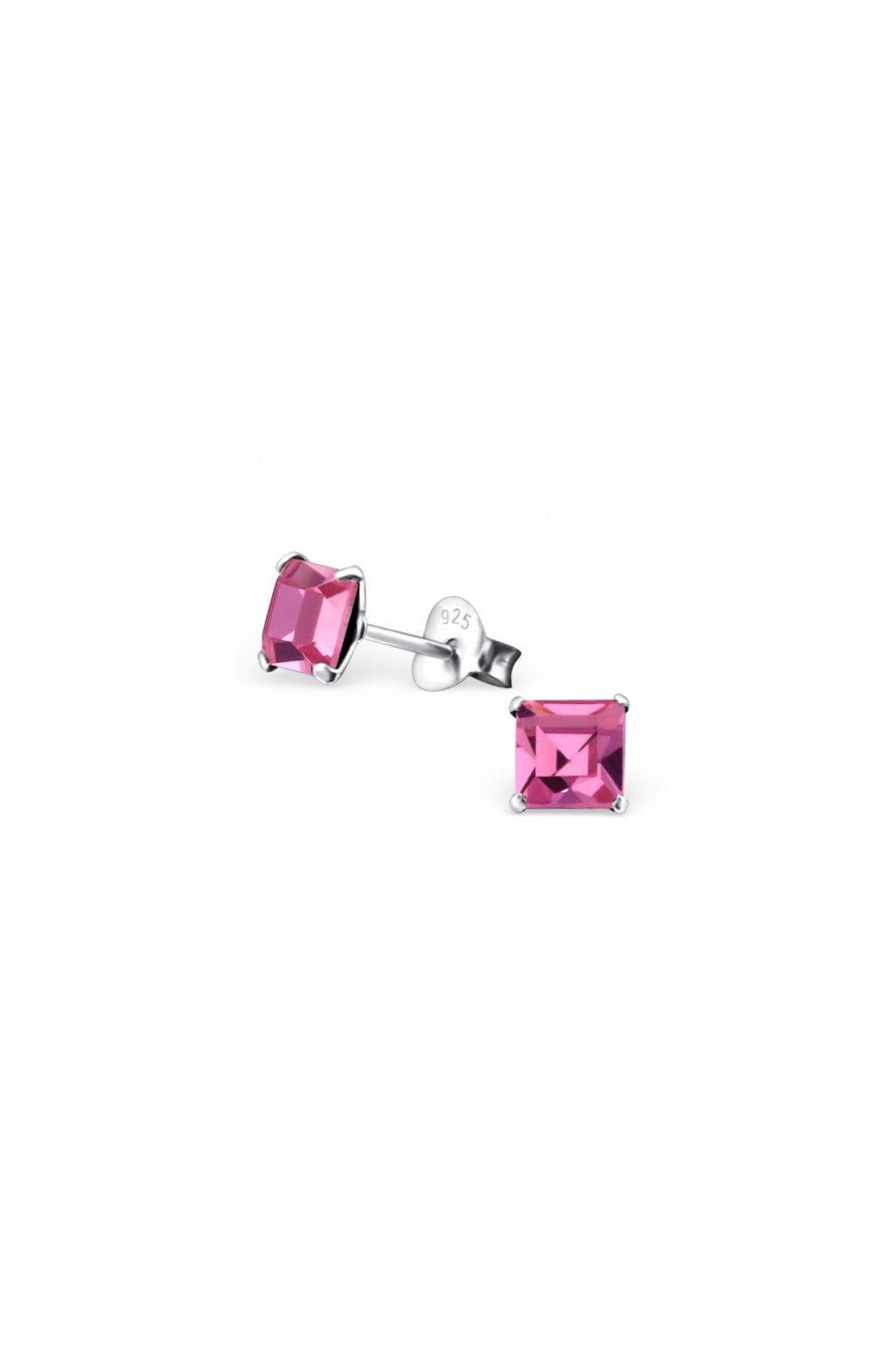 Strieborné náušnice štvorce - 925 cz ružový kryštál MS21525