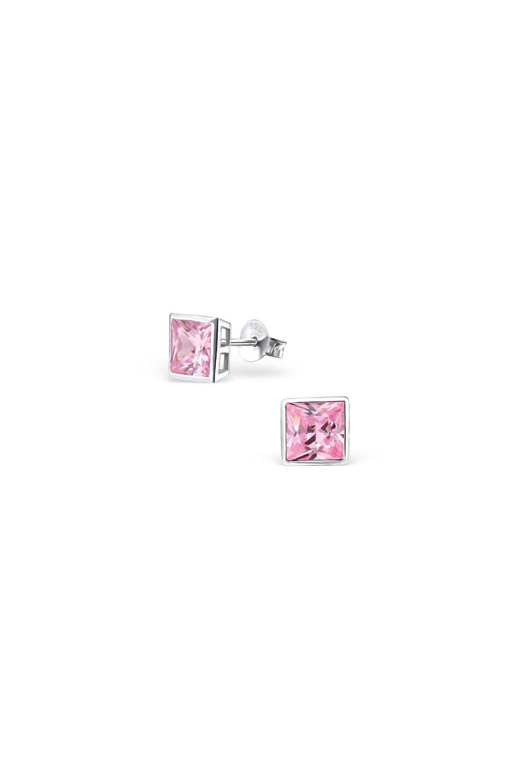 Strieborné náušnice štvorce - 925 CZ ružový kryštál MS3697