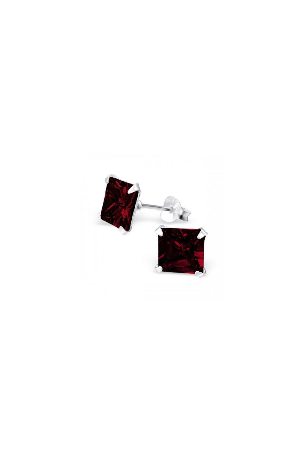 Strieborné štvorcové náušnice - 925 cz granát MS11611