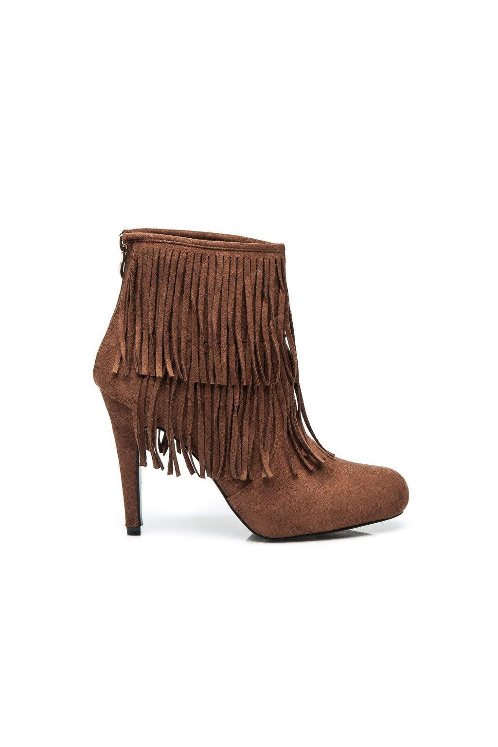Strapcové topánky na opätku - Boho LL646C / S3-129P hnedé veľ.č. 37, 39 (Veľkosť UK8 / EUR 41)