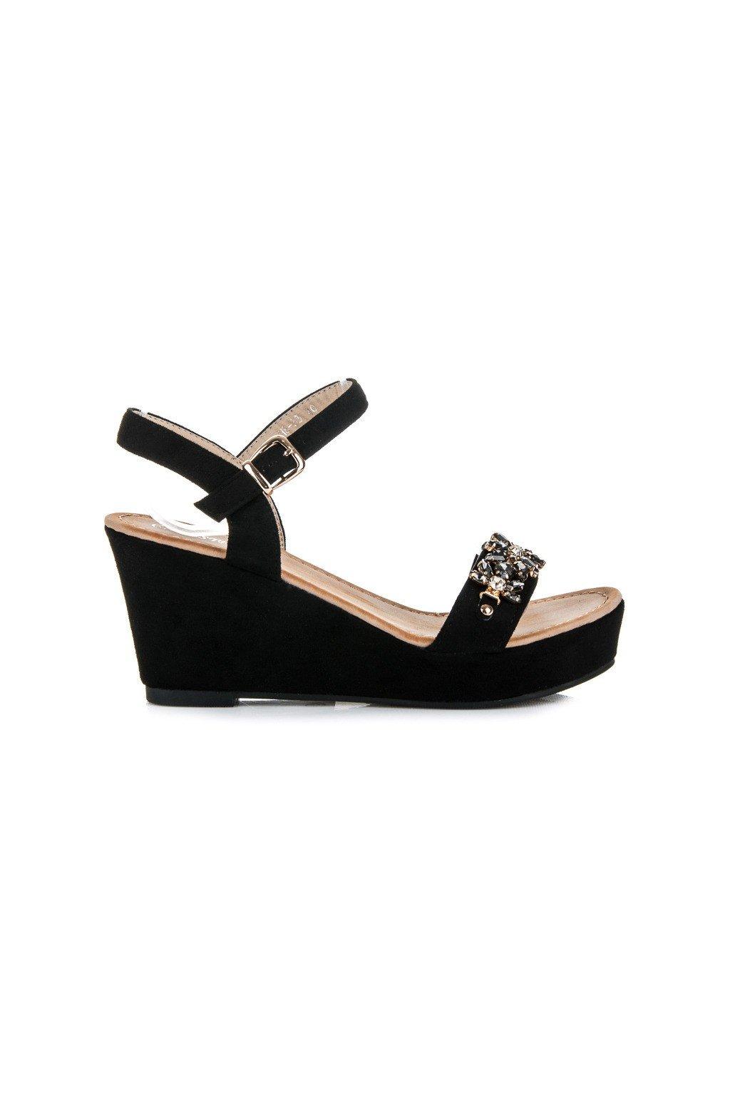 Čierne sandále s kamienkami H8-33B