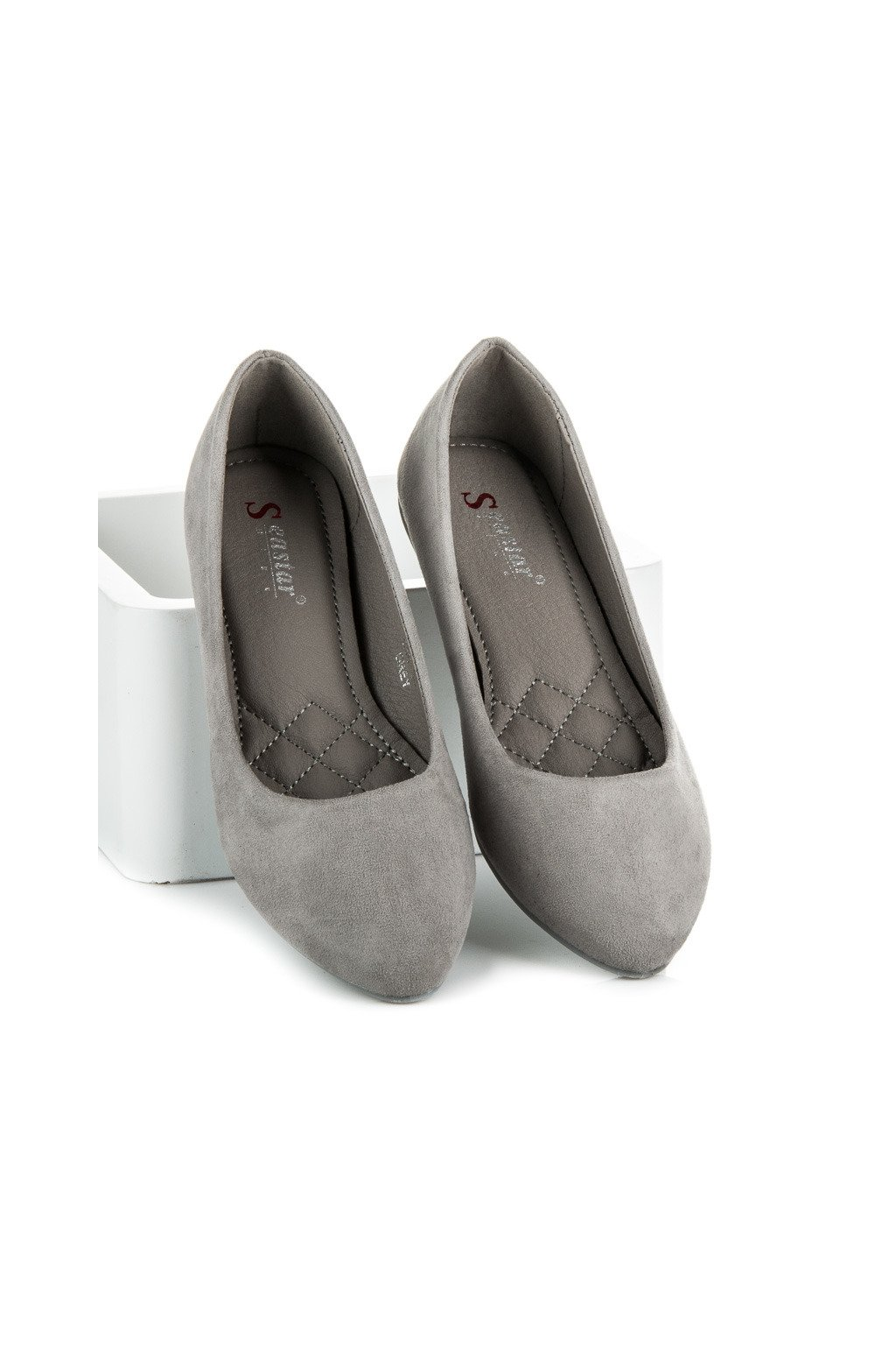 Semišové sivé balerínky C56G