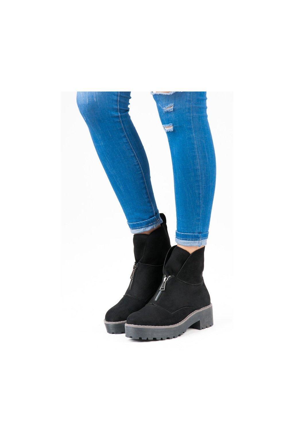 Čierne topánky na hrubej podrážke Vices 8313-1B 5d6f6f819bb