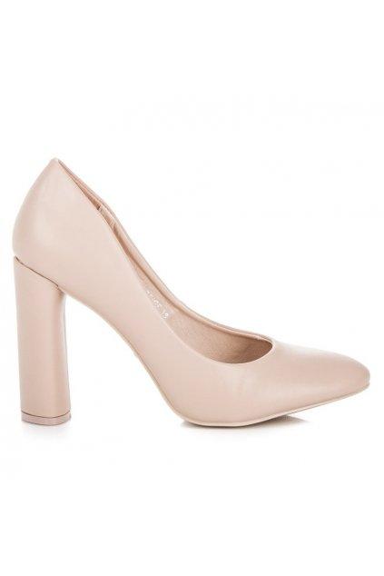 Klasické béžové lodičky na stĺpiku Ideal Shoes