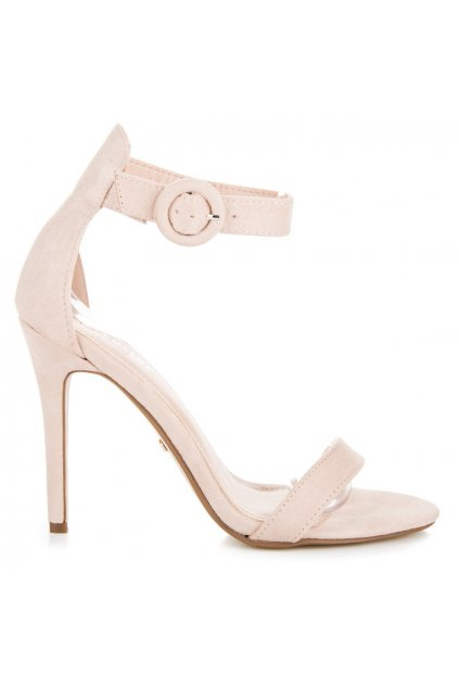 Béžové semišové sandále na ihlovom podpätku Seastar