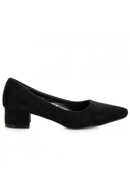 Semišové čierne lodičky Best Shoes 3A3B