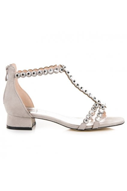 Sivé sandále na zips 9175-5G