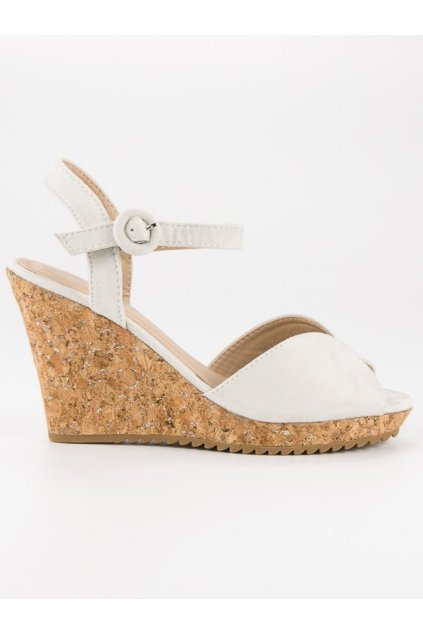 Sandále na korkovej platforme sivé 3811-13G