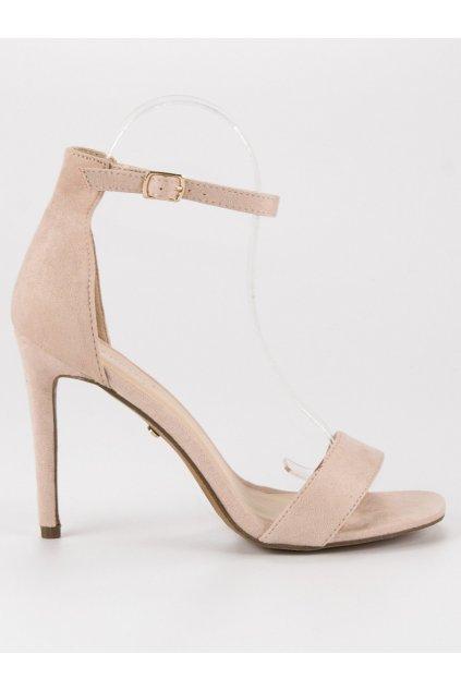 Semišové sandále na podpätku béžové SY31BE