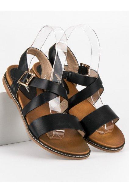 Ploché sandále čierne L-6138B