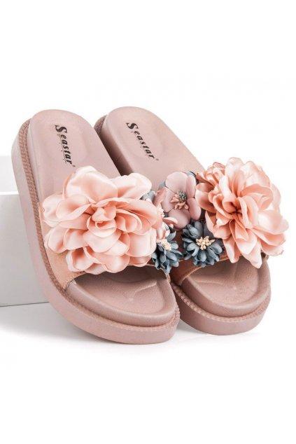 Ružové dámske šľapky flowers Seastar