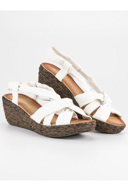 Biele nasúvacie sandále L347-1W