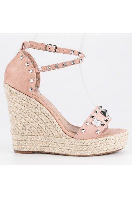 Sandále na platforme ružové 100-862P