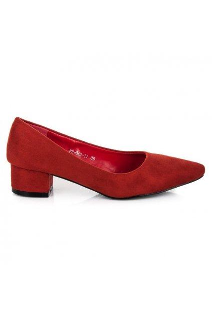 Červené semišové lodičky na opätku Best Shoes