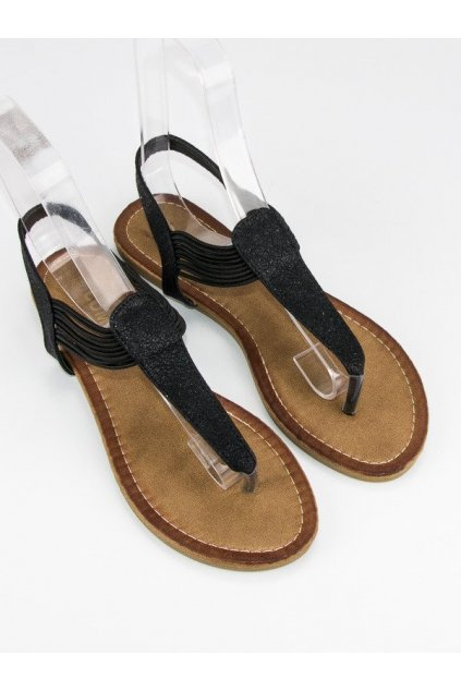 Čierne sandále žabky s gumičkou ALS023B