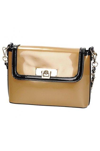 Lakovaná zlato-čierna listová kabelka MONNARI BAG2160