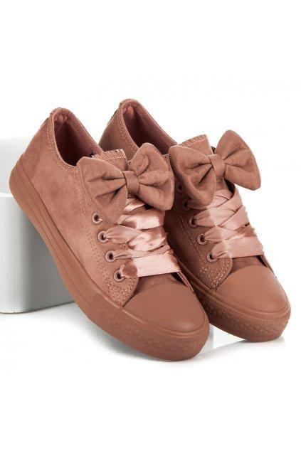 Ružové botasky s mašľou