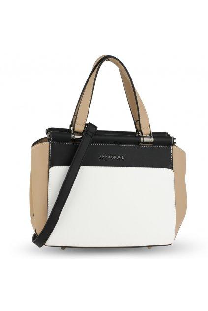 Trendy kabelka do ruky Georgia biela / čierna / telová AG00694