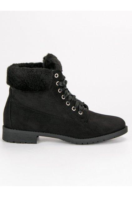 Semišové topánky na zimu čierne NC87B