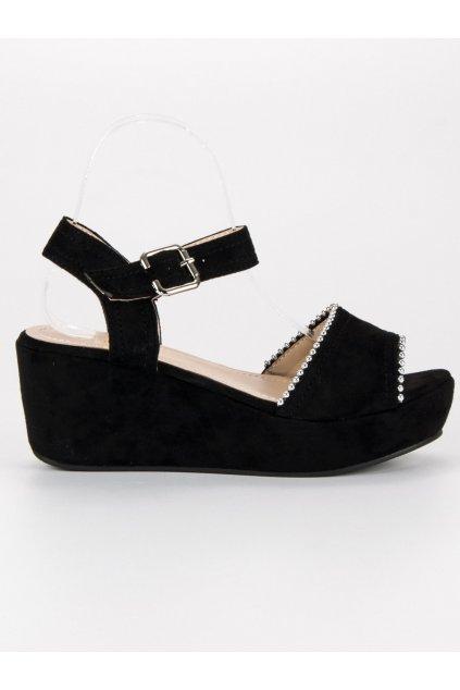 Letné sandále na platforme čierne 2736B