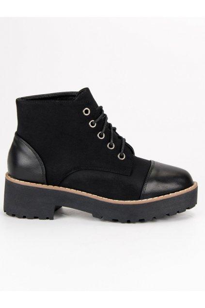 Dámske čierne topánky workery 90173-6B