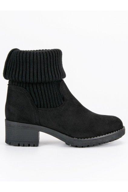 Vysoké topánky na opätku čierne NC102B
