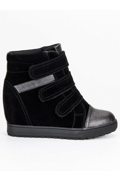 Čierne štýlové tenisky na suchý zips J0100B