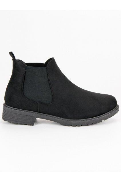 Nízke topánky na jeseň čierne pérka  SJ1817B
