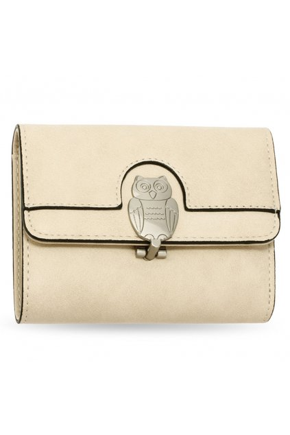 Béžová peňaženka pre ženy Flap sova AGP1102