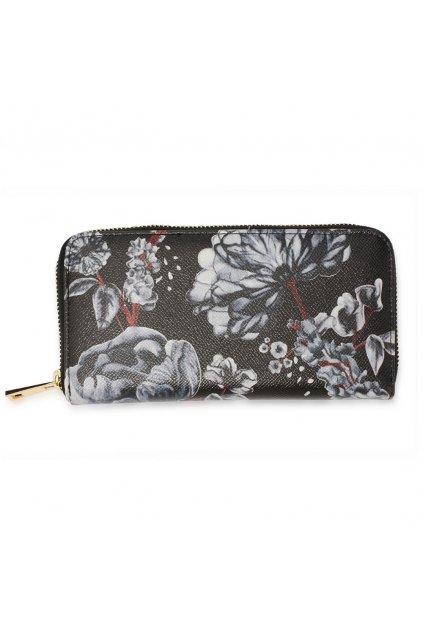 Čierno biela peňaženka pre ženy Floral Print AGP1108