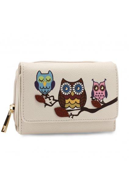 Slonovinová biela peňaženka pre ženy AG Sovy AGP1101