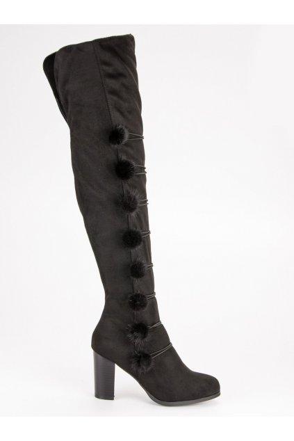 Elegantné čierne čižmy FC-H115B