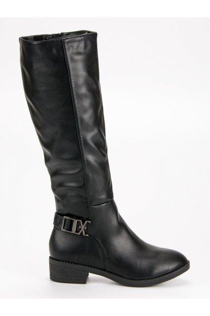 Čierne klasické čižmy pod kolena Super Me