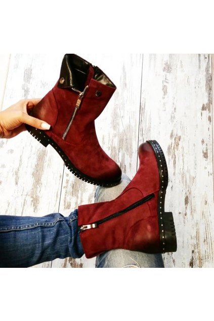 Bordové kožené topánky na zimu 1266/5DR.FU