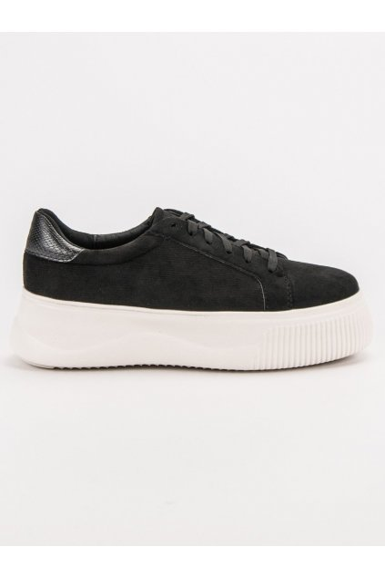 Čierne semišové tenisky na platforme Vices