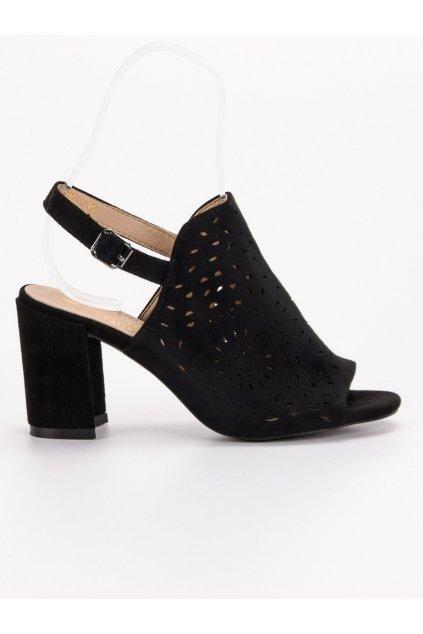 Čierne dámske sandále na stĺpiku Shelovet FG1B