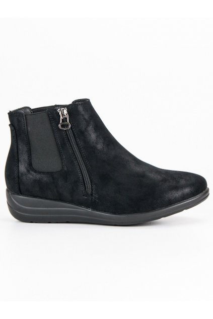 Dámske čierne topánky členková obuv na zips Kylie