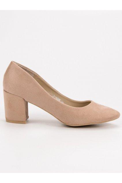 Béžové lodičky na stĺpiku Ideal Shoes