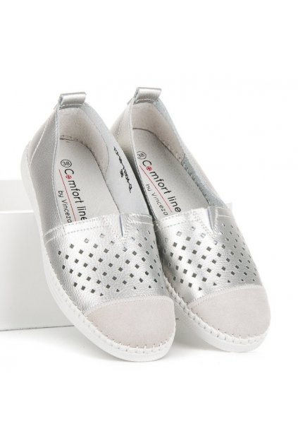 Strieborné kožené topánky Vinceza