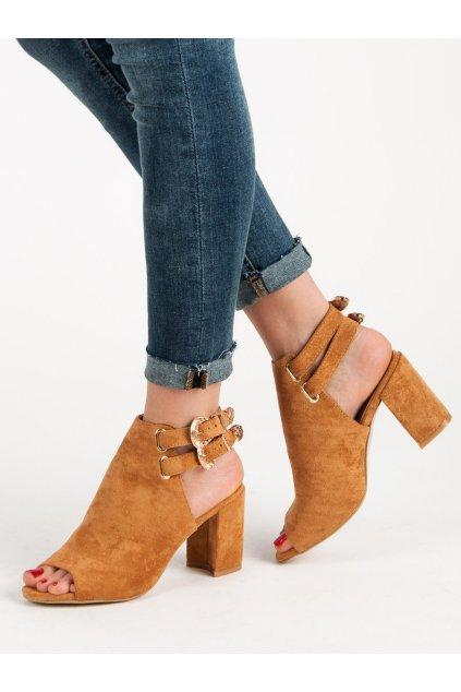 Hnedé dámske sandále na na stĺpiku Erynn FL18C