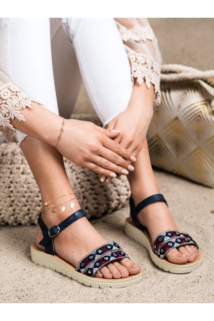 Modré sandále s plochou podrážkou Shelovet kod B119-08-01MA