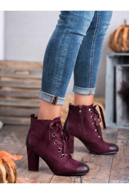 Červené dámske topánky na hrubom podpätku Vinceza kod HX20-16106BUR
