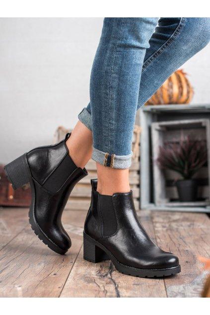 Čierne dámske topánky na hrubom podpätku W. potocki kod XY20-10485B