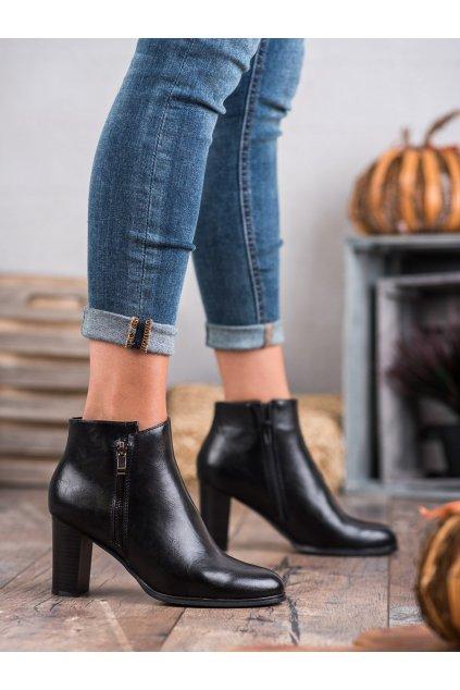 Čierne dámske topánky na hrubom podpätku W. potocki kod XY20-10489B
