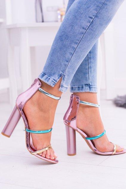 Dámske sandále na podpätku farba ružová kód obuvi DH20-1028 ROSE GOLD