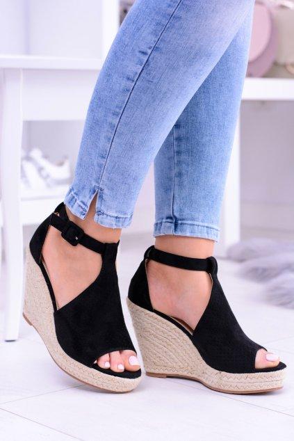 Čierne semišové platformové sandále Sunlast
