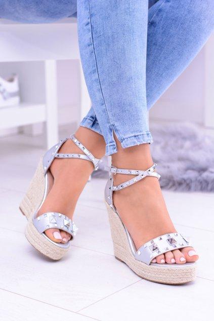 strieborné Sandále na platforme na espadrillech Mariko