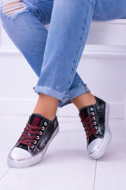 B. Star čierne topánky strieborné tenisky BB274013
