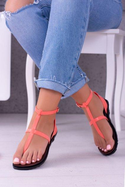 Dámske sandále s plochou podrážkou farba ružová kód obuvi LS01 NEON PINK