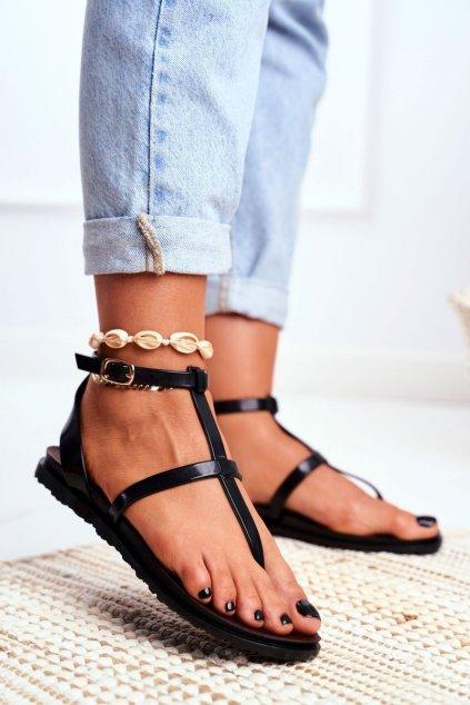 Dámske sandále farba čierna kód obuvi LS01 BLK MAT